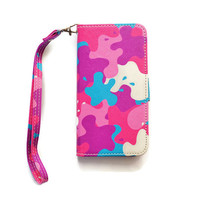 iPhone 6 Wallet Case Color Splash iPhone 6 Wallet Retro iPhone 6 Wallet Cute Girly Ink Splatter Wristlet W475