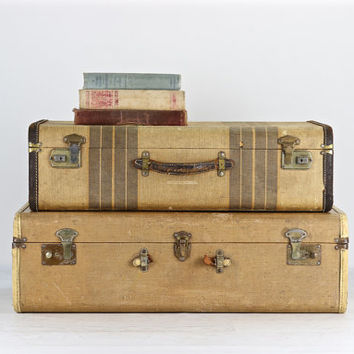 Vintage Suitcases, Set Of Suitcases, Suitcase Stack Of Two, Suitcase, Luggage, Old Luggage, Stack Of Suitcases, Striped Suitcase