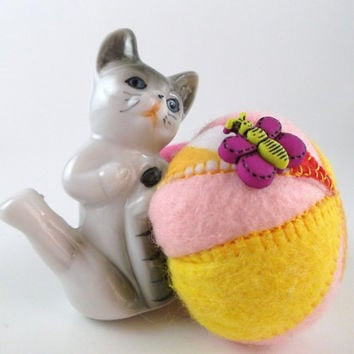 Handmade Pincushion with Recycle Upcycle Vintage Cat Figurine Felt and Porcelain Pin Cushion Cat with a Butterfly Pincushion.