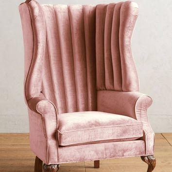Slub Velvet English Fireside Chair