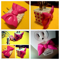 PINK Bow iphone   ipod charger big bow and pink pearls phone charger