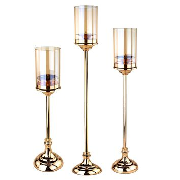 Tall Glass Cup Candle Holder Metal Centerpiece, Gold, 3-Piece