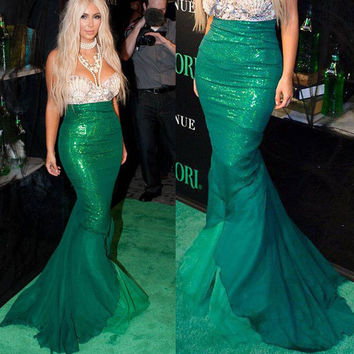 Little Mermaid Kim Kardashian cosplay yolo glamour costume Ariel Vogue SQ12017