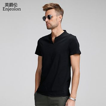 \cotton t shirt men 4 color solid clothing t shirt male v neck clothes male casual t shirts for men