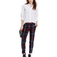 Tommy Hilfiger Long-Sleeve Button-Down Tunic & Plaid Cropped Pants