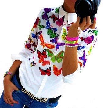 Floral/ Butterfly Printed Blouse Shirt Women White Blouse Summer Tops Slim Female Blouses