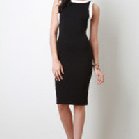 Women's Squared Trim Midi Dress