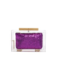 ASOS Perspex Clutch With Internal Glitter Purse
