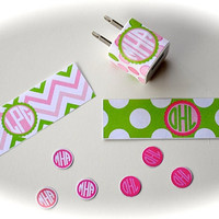 Personalized, Custom Monogrammed IPhone IPod IPad Charger Wrap and Button Decal Set