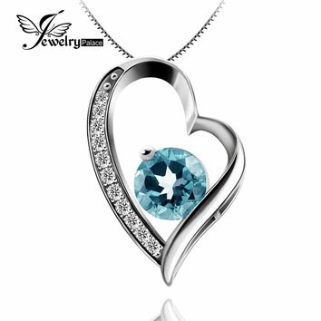 Round Cut Trendy Sky Blue Topaz Gemstone Pendant Real Solid 925 Sterling Silver Topaz Symbolizes Good Friendship& Love Best Gift