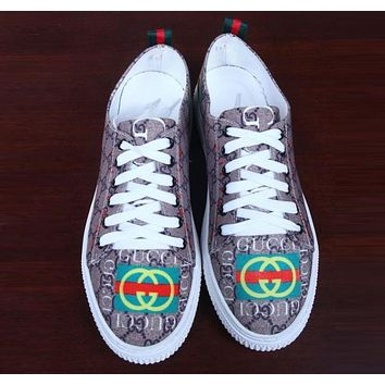 GUCCI Fashion Women Men Leisure Double Letter Print Sport Running Shoe Sneakers I12239-1