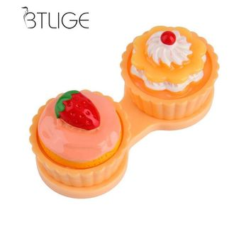 BTLIGE Cartoon Cute Cream Cake Glasses Double Contact Lenses Box Contact Lens Case For Eyes Care Kit Holder Container Gift