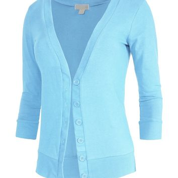 Juniors T-Shirt Fabric Cardigan 3/4 Sleeve 6 Button Many Colors