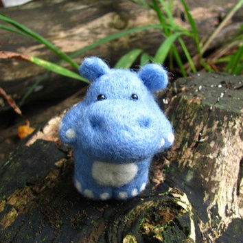 Little blue needle felted hippo