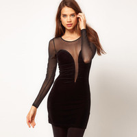 Black Deep V-Neck Sheer Mesh  Long Sleeve Bodycon Mini Dress