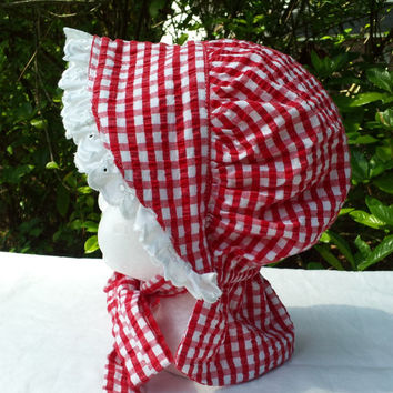 Baby Girls Sun Bonnet Hat, Red and White Gingham, Size 6 to 12 Months