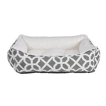 Scoop Bolstered Dog Bed — Chenille Palazzo + Ivory Faux Sheepskin