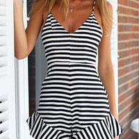 Casual Striped Pattern Spaghetti Strap Romper