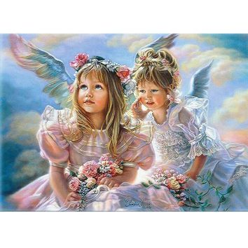 Child Baby Angel Lancape DIY Hand-painted Picture By Numbers Oil Painting On Canvas Drawing Painting By Numbers Wall Art r083