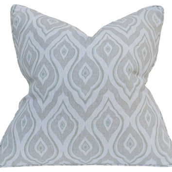 Barclay Butera, Ikat 22x22 Linen Pillow, Earl Grey, Decorative Pillows