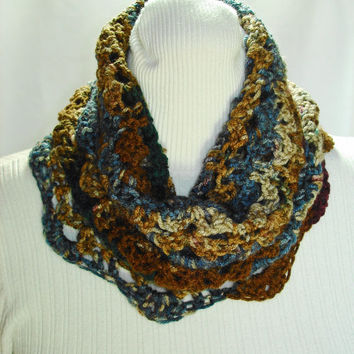 Crochet Cowl Multi Color Cowl Blue Brown Gray Crochet Cowl Shell Stitch Cowl Acrylic Yarn Cowl