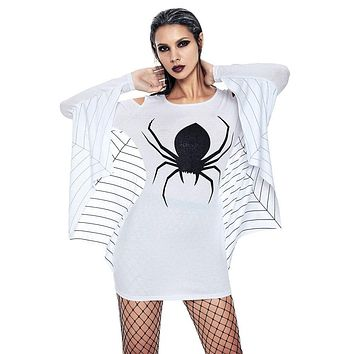 2019 Fashion Summer Dress Female Women's Halloween Spider Uniform Off Shoulder Long Sleeve Bat Sheath Mini Dress