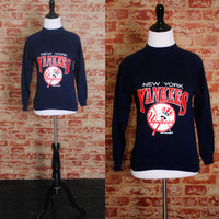 Vintage 1980s 1986 Rare DEADSTOCK Official MLB New York YANKEES tiny fit Navy Blue long sleeved Sweatshirt xs small