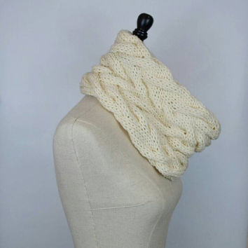 Cream Braided Cowl, Chunky Knit infinity Scarf, Neutral Snood for Women and Teens,