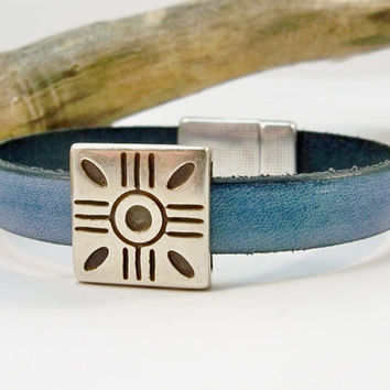 Women's Leather Sun Bracelet, Vintage Denim Leather Bracelet, Silver and Leather, Gift for Her