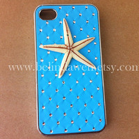Iphone 4 Case, starfish iphone 4 case, whtie starfish, blue Hard Case, iphone case