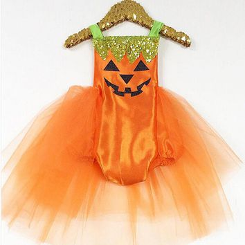 Hot Toddler Baby Infant Girl Halloween Pumpkin Romper Bodysuit Backless Belt Dress Costume Lace Tutu Novelty Clothes Outfit