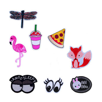 New Dragonfly Flamingo Drink Pizza Fox Eyes Patches Iron On Or Sew Fabric Sticker For Clothes Badge Embroidered Appliques DIY