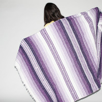 Vintage 1970s Purple South Western Kilim Throw Blanket