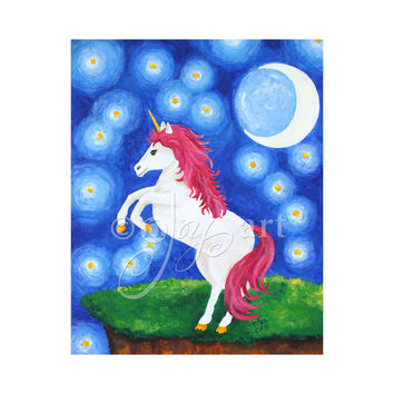 "Unicorn Under Starry Night,  8""x10"" Wall Art Print For Girls Room"