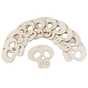 DKF4S 10pcs Wooden Embellishments Halloween Decoration Skull Pattern Pendant with Hemp Ropes