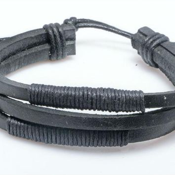 Mens Hemp Rope & Leather Braided Rope Bracelet