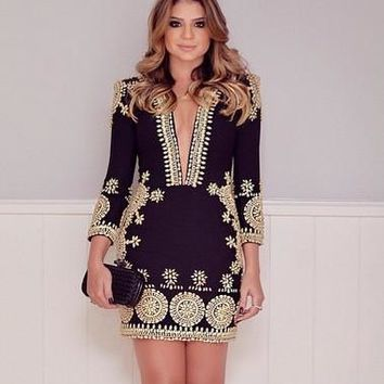 Vestidos Print Office Dress Sexy Deep V-neck Long Sleeve Bodycon Dresses