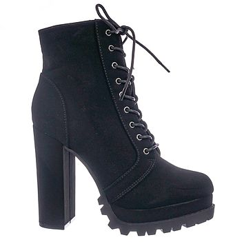 Vivian01 Chunky Block High Heel Lug Sole Bootie -Women Ankle Lace Up Combat Boot