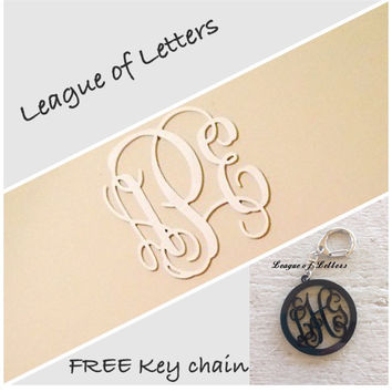 FREE Key chain with 20 inch Personalized Wooden Monogram Letters Wall Hanging Home Decor Mega Sale!