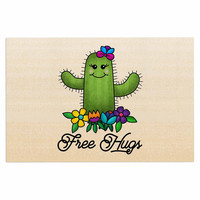 "Noonday Design ""Free Hugs Cactus"" Green Pastel Decorative Door Mat"