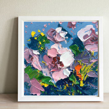 Flower Painting Oil Painting on Canvas, Flowers Art, Original Painting, Floral Art, Gift for Her, Gift Mother's Day, Gift for Mom, Painting