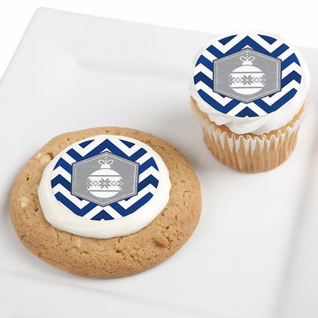 Merry & Bright - Chevron Navy and Gray - Christmas Party Edible Cupcake Toppers - 12 ct