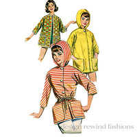 1960s Misses' Quick and Easy Jacket w/ or Without Hood 3 Quarter Sleeve Bust 31 32 SMALL Butterick 9806 Vintage Sewing Patterns Easy to Sew