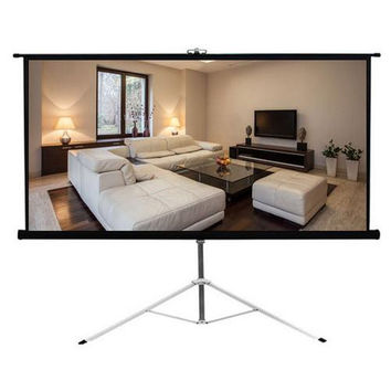 Universal 100-Inch Floor Standing Portable Fold-Out Roll-Up Tripod Manual Projector Screen (59.8'' x 79.9'') Matte White Surface