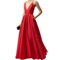 La Mania Plunge Neck Gown Red | Harrods