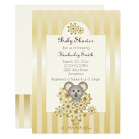 Girl | Boy Baby Shower Animal Faux Gold Invitation