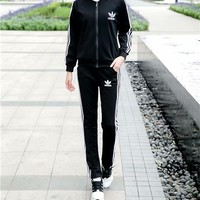 """""""Adidas"""" Women Casual Stripe Letter Print Trousers Long Sleeve Cardigan Clothes Set Two-Piece Sportswear"""