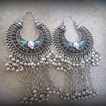 Bohemian silver earring-tribal dangle earring-tribal earring-gypsy earring-filigree earring-ethnic earring-boho earring-afghan jewellery