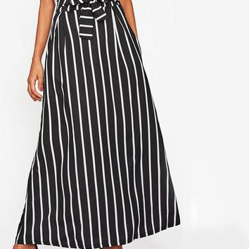 Vertical Stripe Maxi Skirt Women Black Bow Tie High Waist Long Skirts Fashion Elegant Casual A Line Skirt