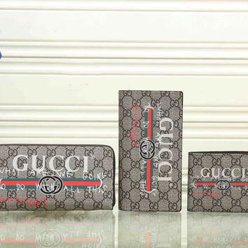 GUCCI Woman Men Fashion Wallet Purse Clutch bag Set Three Piece